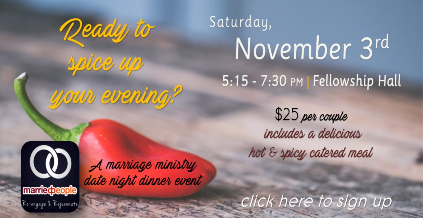 Fun giveaways for marriage ministry event
